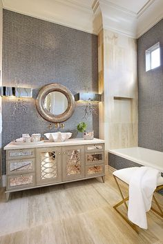 Hollywood Regency styled bath: Tara Dudley Interiors recently finished this beautiful high-end luxury remodel located in Summerlin, Las Vegas.