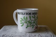 Vintage Coffee or Cocoa, Mistletoe Mug, When Not Drinking Hold Over Head, Recycled Paper Products, Message Mug, Fun, Kitshy, White Elephant by BrindleDogVintage on Etsy