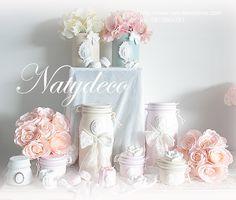 bocaux boite de conserve et petit pot peint et relooké par Natydeco En vente sur http://www.natydecocorse.com
