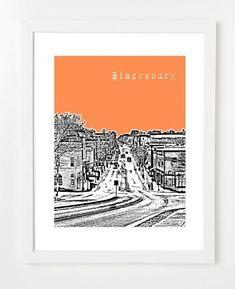 Blacksburg, Virginia Poster - City Skyline Art Print - Blacksburg, VA 8x10 - VERSION 1