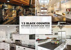 Black granite and dark cabinets lighten up kitchen with white