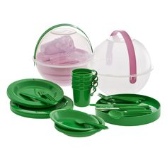 Picnic Ball with Plates, Cups and Cutlery for 4 in 2 Assorted Colors