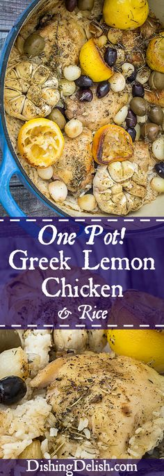 One Pot Greek Lemon Chicken and Rice is so incredibly easy to make that it'll be your new weeknight go-to meal. Braised greek chicken thighs resting on top of rice with lemons, garlic cloves, spices, (Baked Chicken And Rice) Lemon Chicken Rice, Lemon Chicken Thighs, Greek Chicken, Baked Chicken, Chicken Recipes, Healthy Chicken, Best Gluten Free Recipes, Gluten Free Recipes For Dinner, New Recipes