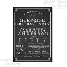 Typography Adult Surprise Birthday Invites by GreenCherryFactory, $15.00