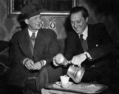 During the making of The Third Man (1949), Joseph Cotten and Director Carol Reed take a tea break.
