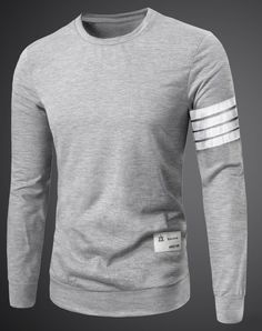 Casual Round Neck Color Block Stripes Splicing Long Sleeve T-Shirt For Men