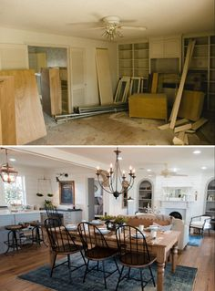 The front door opens up into the dining, living and kitchen areas, which was previously closed off into three different rooms—all of which were dated and run down.