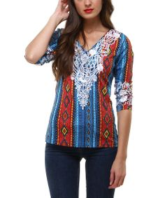 Blue & Red Embellished Makah Bordado Top | something special every day