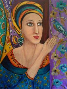Suzanne Smeets DONNA Olio acrilico su tela 50x60