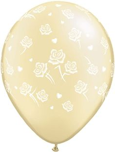 "11"" Pearl Ivory Hearts and Roses Latex Balloons - 25pk"