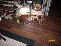 Prim crate with burlap, raffia and more dryer vent pumpkins