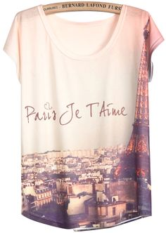 White Short Sleeve Pylon Print T-Shirt - Sheinside.com