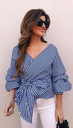 Gingham bell sleeve blouse-Rocking street style summer outfits – Just Trendy Girls Rock Street Style, Simple Street Style, Street Style Summer, Street Style Looks, Street Styles, Casual Outfits, Fashion Outfits, Womens Fashion, Mode Kimono