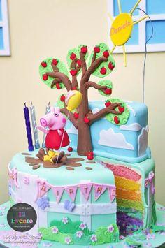 Peppa Pig 3rd birthday party cake