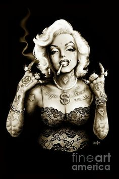 Marilyn Monroe Gangster Style Print By Screaming Demons