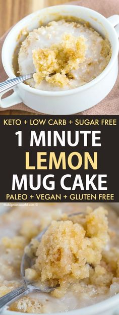 Easy Keto Lemon Mug Cake Recipe that takes ONE minute! Fluffy on the inside, ten… Easy Keto Lemon Mug Cake Recipe that takes ONE minute! Fluffy on the inside, tender on the outside, drizzled with a sugar free glaze! Sugar Free Desserts, Low Carb Desserts, Health Desserts, Homemade Desserts, Healthy Lemon Desserts, Iced Lemon Pound Cake, Lemon Mug Cake, Food Cakes, Mug Cake Rezept