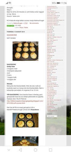 Scone Recipes, Waffle Recipes, Bread Recipes, Breakfast Recipes, Cooking Recipes, Rusk Recipe, Homemade Pie Crusts, South African Recipes, Savory Snacks