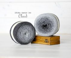 2 Hand Dyed Yarn Balls - 100% Wool - Color: Cloud Ombre - 1Ply Sport Yarn - Colorful Soft Yarns by Freia - 2 Balls - Gray Ombre Sport Yarn