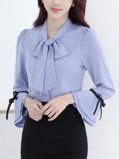 Specifications Product Name: Chic Tie Collar Bell Sleeve Blouse Weight: 160(g) Sleeve Type: Bell Sleeve Material: Chiffon Season: Autumn / Spring Sleeve: Long Sleeve Occasion: Office Collar&neckline: Tie Collar Size chart as a reference: Waist Sleeve Length Shoulder Length Bust s Inchcm 3588 2153 1436 2667 3588 m Inchcm 3692 2154 1537 2667 3692 l Inchcm 3896 2255 1538 2768 3896 xl Inchcm 39100 2256 1539 2768 39100 xxl Inchcm 41104 2257 1640 2769 41104 More Pictures