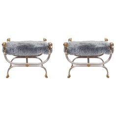 Pair of Mid-Century Maison Charles Benches in Sheepskin with Lions' Heads | 1stdibs.com