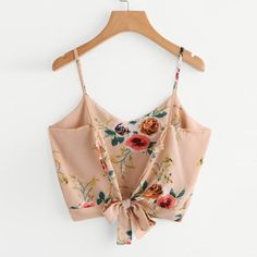 Crop top camisole v neck floral print tank top women's self tie back summer cami vest tops Cami Tops, Cami Crop Top, Vest Tops, Crop Blouse, Floral Tank Top, Floral Tops, Mode Outfits, Fashion Outfits, Dress Fashion