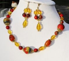 Red bamboo coral amber gold artisan Mexican OOAK by ElmsRealm, $25.00