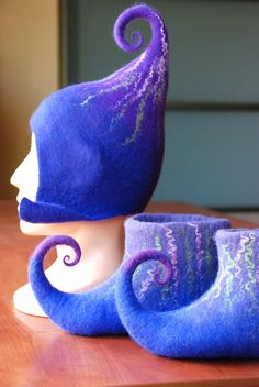 Gnome/Pixie/Fairy  hat and slippers set in purple by zavesfelt, $72.00