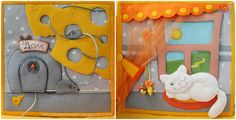 love the mouse page, can go through the cheese, also has a mouse inside the door, as well as the mouse sliding on the string