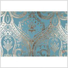 Teal Damask Prints - Prints - Polyester - Home Fabrics