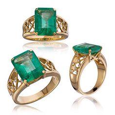 #ring emerald diamond