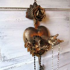 French Santos wall hook tin sacred heart w/ hands large painted distressed antiqued gold wall hanging ooak home decor by Anita Spero Design
