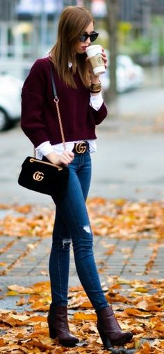 #winter #fashion /  Burgundy Top + Ripped Skinny Jeans