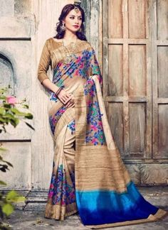 Flawless Strips Print Cream Designer Sarees http://www.angelnx.com/Sarees/Party-Wear-Sarees