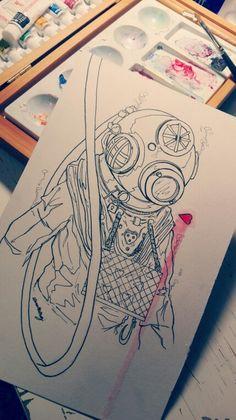 """Sink, sank, sunk"" [Ink & watercolor]"