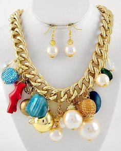 34.65$ Chunky Bold Multi Color Glass Blue Stone Gold Chain Statement Bib Necklace Set