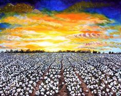 Mississippi Delta Cotton Field Sunset Metal Print by Karl Wagner. All metal prints are professionally printed, packaged, and shipped within 3 - 4 business days and delivered ready-to-hang on your wall. Choose from multiple sizes and mounting options. Farmhouse Paintings, Farm Paintings, Acrylic Paintings, Cotton Painting, Hand Painting Art, Black Painting, Mississippi Delta, Mississippi University, Cotton Pictures