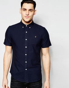Image 1 of Farah Oxford Shirt in Slim Fit Short Sleeves