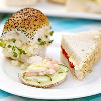 These recipes would be so nice for afternoon tea sandwiches. walnut and roasted pepper sandwiches. lemony cucumber and prawn sandwiches. and creamy egg and cress sandwiches. Tea Party Sandwiches, Finger Sandwiches, Delicious Sandwiches, Afternoon Tea Recipes, Afternoon Tea Parties, Bbc Good Food Recipes, Cooking Recipes, Afternoon Tea, Salads