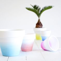 Ombre dip dyed clay pots - craft ideas with a clay pot - modern decor inspiration