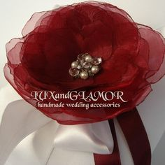 White satin ring bearer pillow with burgundy organza flower - satin wedding pillow