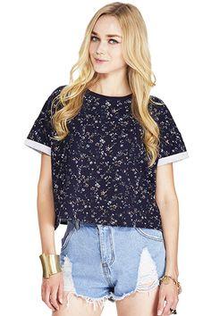 ROMWE   ROMWE Floral Print Rolled Cuffs Blue T-shirt, The Latest Street Fashion $24.99