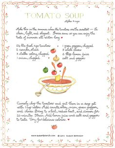 Tomato Soup by Susan Branch This style always reminds me of childhood memories and warm family. This illustration is amazing and I'm loving it!