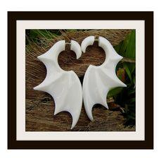 Fake Gauge Earrings - Organic Water Buffalo Bone Fancy Bat Wings Tribal Expanders Hand Carved Fake Piercings on Etsy, $16.00