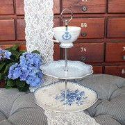 ♥ Etagere PAULINE aus Keramik,weiß/blau ♥ im Landhausstil