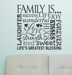 Family Is Word Collage | Vinyl Wall Lettering | Wall Quotes