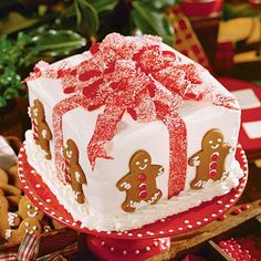 Gift Box Cake Recipe ~ It's an impressively moist three-layered white cake with a fine crumb texture