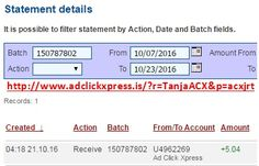 Here is my #106 Withdrawal Proof from Ad Click Xpress. I get paid daily and I can withdraw daily. Online income is possible with ACX, who is definitely paying - no scam here. I WORK FROM HOME less than 10 minutes and I manage to cover my LOW SALARY INCOME. If you are a PASSIVE INCOME SEEKER, then AdClickXpress (Ad Click Xpress) is the best ONLINE OPPORTUNITY for you. Join for FREE and get 20$ + 10$ + 5$ Monsoon, Ad and Media value packs from ACX.