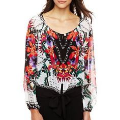 XOXO® Printed Front-Tie Peasant Blouse - jcpenney