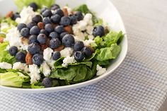 Recipe for a summer salad with blueberries, almonds, feta cheese and a poppy seed dressing