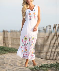 White & Pink Hand-Painted Maxi Dress